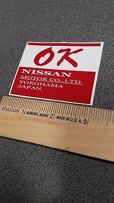 "Nissan Datsun Yokohama ""OK"" Inspection Sticker NEW 510, 240z, 300z"