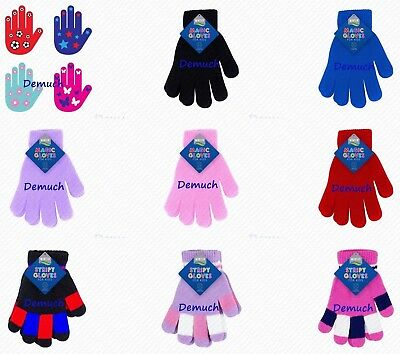 New Children KIDS MAGIC GLOVES Girls Boys Fun Winter Warm PLAIN STRIPED GRIPPER✔