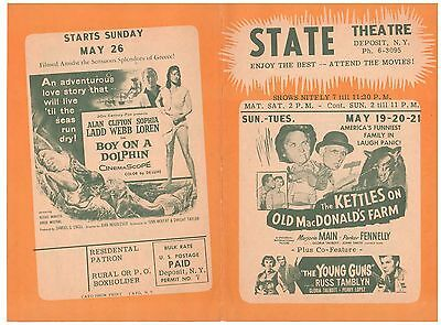 MOVIE FLYER 1957 STATE THEATRE DEPOSIT N.Y. THE KETTLES on OLD MacDONALD's FARM
