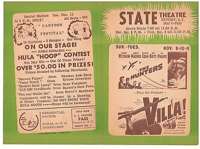 MOVIE FLYER 1959 STATE THEATRE DEPOSIT N.Y. THE HUNTERS with ROBERT MITCHUM