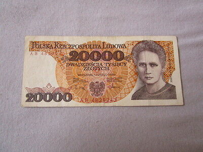 20.000 Zloty Polen Marie Curie 1989