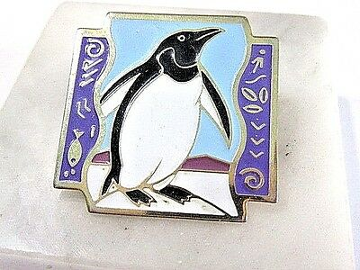 Lapel Pin Enamel Penguin Black White Purple Taiwan Vintage 1992 Shopko Stores