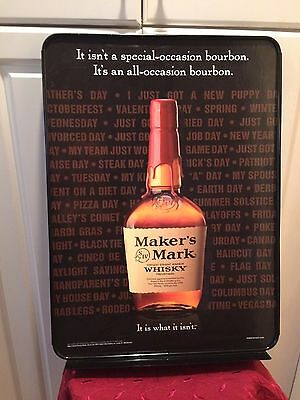 MAKERS MARK Bourbon Whiskey Advertising SIGN Metal Classic Bottle Logo NEW