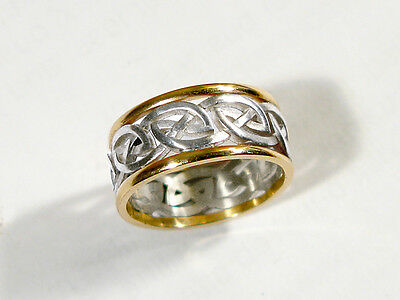Celtic eternity knot ring in 10kt gold /sterling silver. One only in size 5.25