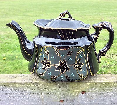 Antique Teapot Victorian Jackfield Black Gold Blue Enamel Hand Painted 2 Pint