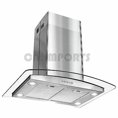 "30"" Island Mount Stainless Steel Range Hood Curved Kitchen Stove Vent Modern LED"