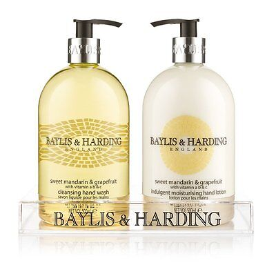 Baylis & Harding Duo Bottle Hand Wash & Hand Lotion Set 2x 500ml in Clear Stand