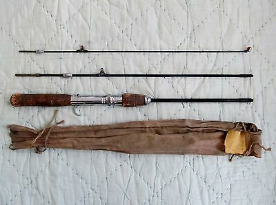 Vintage 3-Piece South Bend Metal Fishing Rod Glass Eyes/Guides +Cloth Case Nice!
