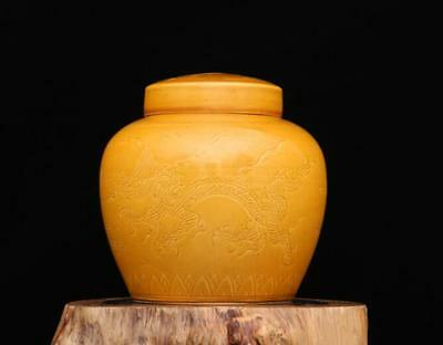 chinese ancient Yellow glaze porcelain carving longfeng Jewelry altar