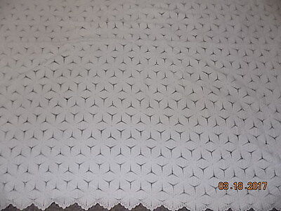 Antique Hand Crochet Popcorn Coverlet Bedspread Off-White