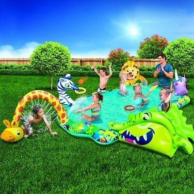 Inflatable Pool With Slide Kids Backyard Water Park Outdoor Fun Splash Center