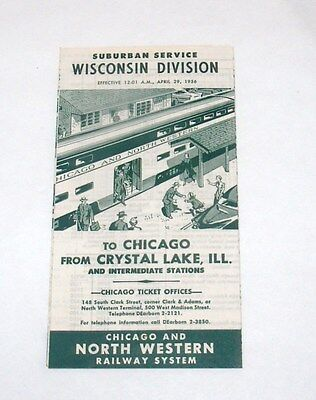 Vintage Railroad Timetable Rr Tt Chicago & North Western Railway Wisconsin 1956