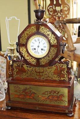 Antique Brass Inlaid Rosewood Mantle Clock