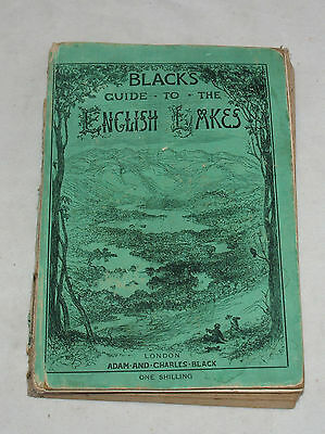 Antique Black's Guide To English Lakes Travel Book Brochure Booklet Map 1892