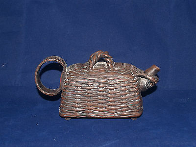 Vintage Japanese Banko Ware Miniature Figural Teapot Brown Earthenware Pottery 1