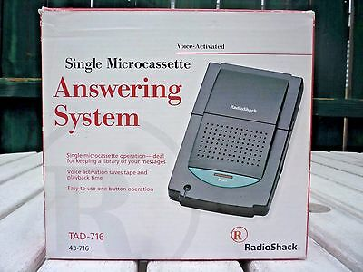 Radio Shack Single Microcassette Answering System  Voice Activated 43-716