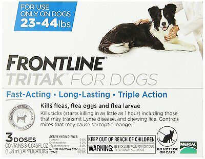 Frontline TRITAK Flea & Tick for dogs 23-44 lbs Blue 3-dose NEW IN BOX