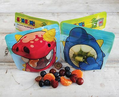 Nom Nom Kids REUSABLE SNACK BAGS x 4 - washable snack bags, snack pot,  BPA free