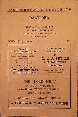 1960 - Dartford v Hastings United - Southern League Cup