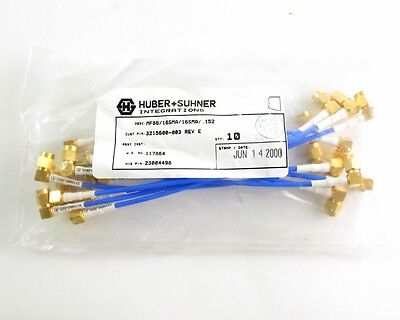 """(10) Flexable Huber+Suhner P/N 23004498 -  RA SMA/Male Plug Cable Assy 6"""""""