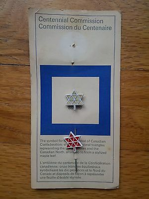 Two Canadian Centennial Lapel Stick Pins Red & Silver Colored 1867-1967 Original