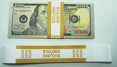 50 Mustard $100 Self Selling Currency Bands $10,000 Cash Money Straps