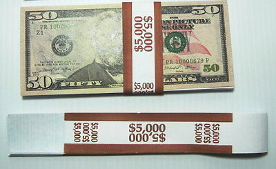 25 Brown $50 Self Selling Currency Bands $5,000 Cash Money Straps FREE Mailing!