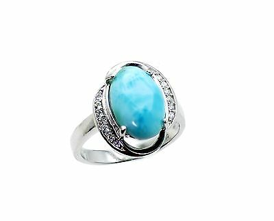 Larimar Beautiful 10X12mm 4.5ct Natural Solid .925 Sterling Silver Ring Size 7