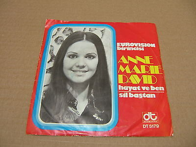 """ANNE MARIE DAVID sings Turkish 7"""" HEAR France Eurovision Luxembourg Turkey w/ps"""