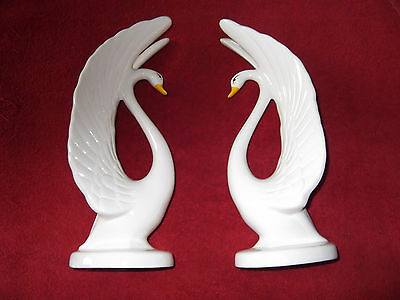"Swans -- Pair Of 12"" High Beautiful Ceramic Swans --Excellent Condition!"