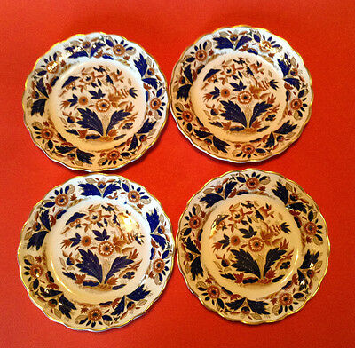 Booths Dovedale 4 Bread And Butter Plates - Cobalt Blue And Brown With Gilding