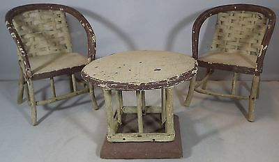 Vintage Miniature Three-Piece Bistro Set Chairs & Table For Dolls Teddy Bears