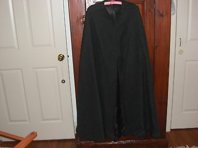 Rare 19Th Century Ladies Black Wool Cape Fully Lined And Handmade