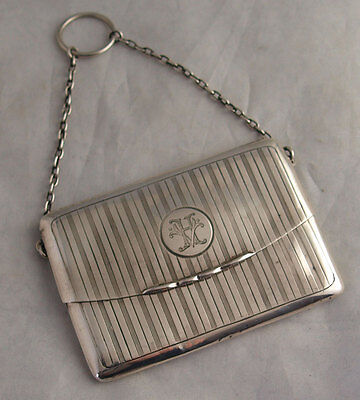 Edwardian Solid Silver Purse Or Card Case - Birm 1910
