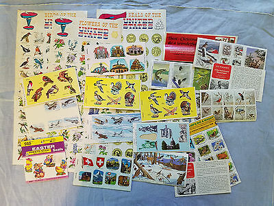 vintage seals stickers wildlife stamps birds, houses, airplanes, monuments