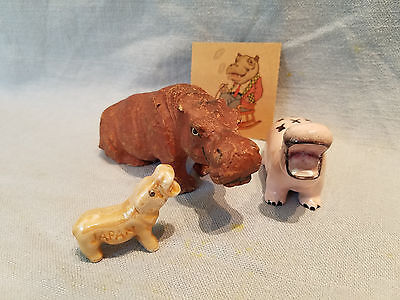 vintage hippo figurines paper mache, ceramic, Japan and paper smoking hippo