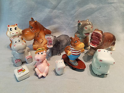 11 ceramic hippo figurines Schmid Japan toothpick holders tooth fairy box
