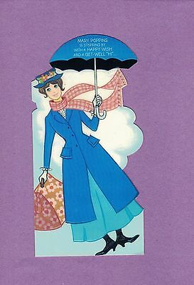 0317D  Vtg Get Well Greeting Card Mary Poppins Walt Disney Productions Hallmark