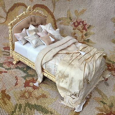 Bespaq/Pat Tyler Dollhouse Miniature Dressed Bed W/Pillows & Drape White