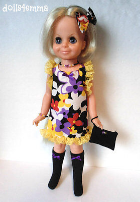VELVET DOLL CLOTHES Mod Dress, Boots, Purse, Bow & Jewelry Fashion NO DOLL d4e