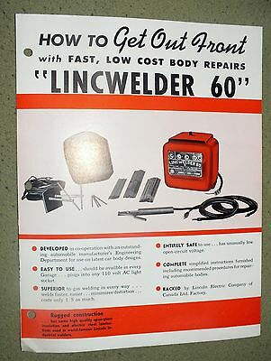 Lincoln Electric LINCWELDER 60 Brochure Cleveland Ohio Rare Car 1948 Welding