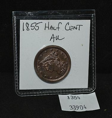 West Point Coins ~ 1855 Half Cent AU Braided Hair