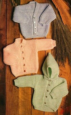 Baby and Toddler Knitting Pattern Copy Hooded Jacket V-Neck Round Neck in 8 Ply