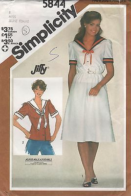 *Simplicity 5844 Vintage Sailor Dress and Top Sewing Pattern Uncut Size 8