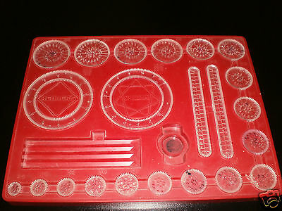 Vintage Spirograph Kenner's 1967 #401 Tray & Wheels Replacement Parts & Ruler