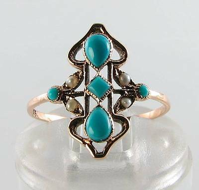Divine Long Victorian Ins 9Ct Rose Gold Turquoise & Pearl Ring Free Resize