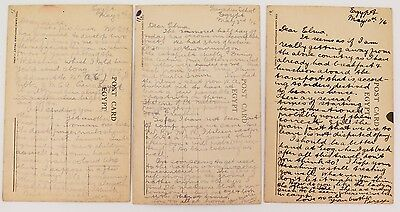 "Ww1 1916, 3 Postcards Sent By The Same Soldier, One Is Headed ""Grenadier School"""