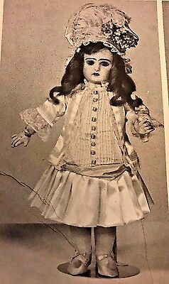 "17-18""antique French   Jumeau Bebe Bru  Doll Dress Jacket Hat Pattern"