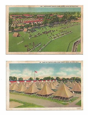 2- 1930's Postcards ~ Camp Perry ~ Lake Erie Ohio ~ WWII ~ World War II