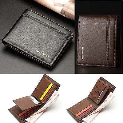 Mens Luxury Soft Quality Leather Wallet Credit Card Holder Purse Brown NEW